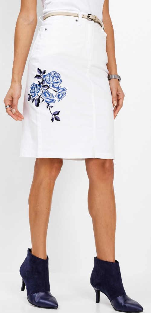 Bílá džínová dámská sukně s květinovou výšivkou