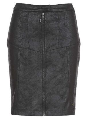 Černá kožená sukně s předním zipem po celé délce