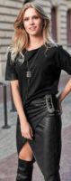 Černá kožená zavinovací dámská sukně