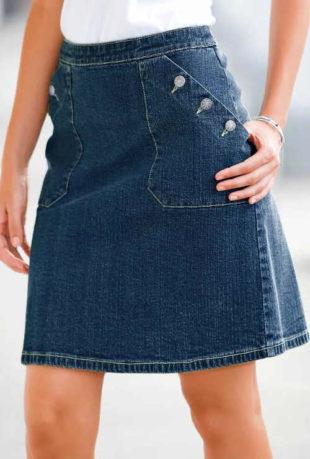 Džínová dámská sukně ačkového střihu