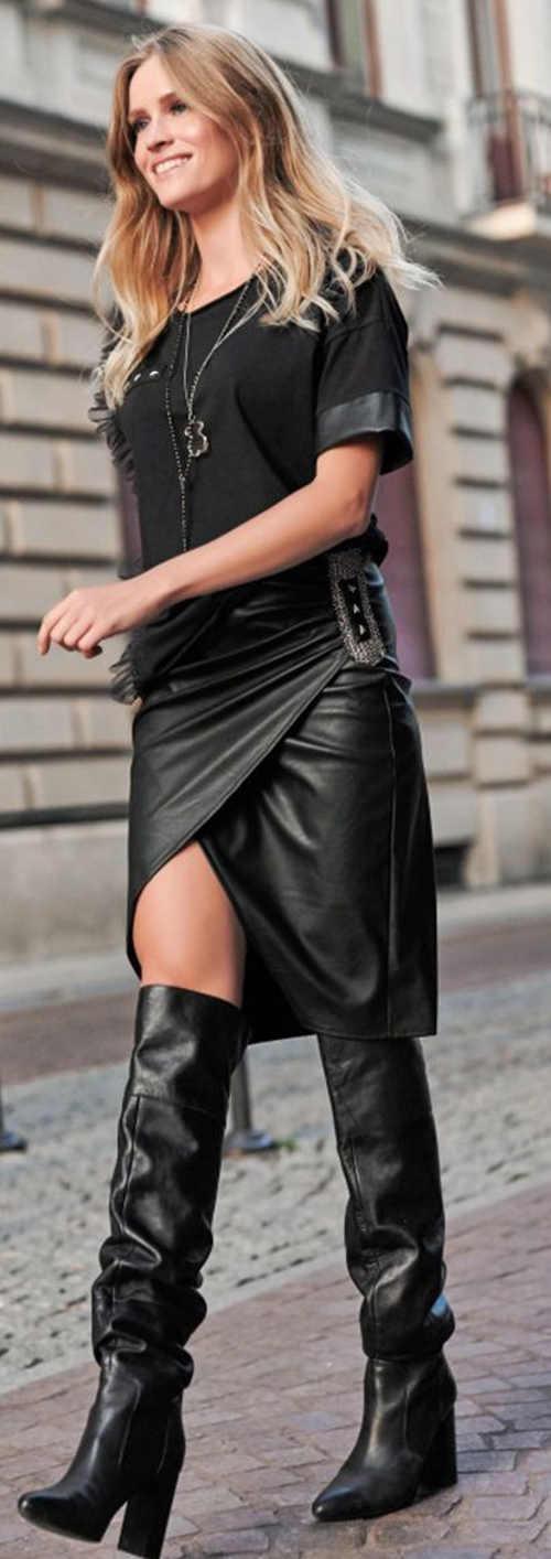 Kožená podzimní dámská sukně k vysokým kozačkám