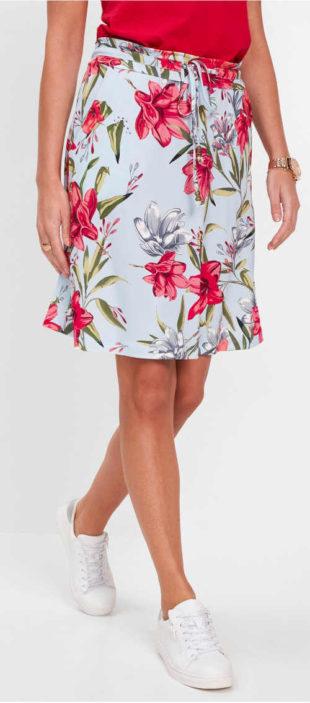 Letní květinová sukně se stahovací šňůrkou v pase