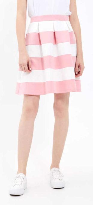 Letní pruhovaná růžovo-bílá sukně do gumy