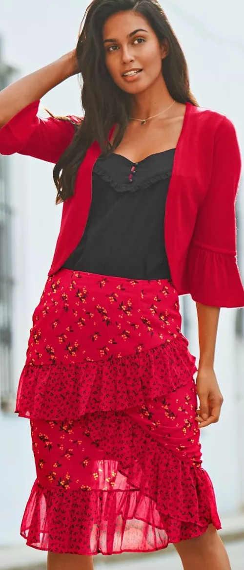 Levná červená dámská sukně s asymetrickými volány