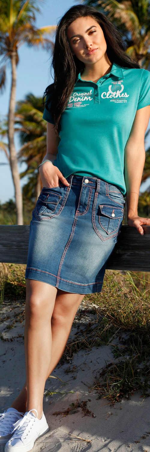 Strečová džínová dámská sukně Bonprix s výraznými kapsami