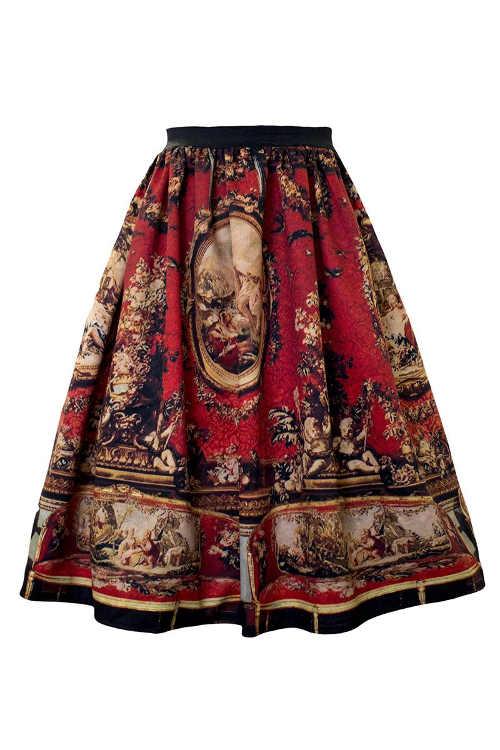 Áčková dámská sukně v midi délce v originálním vzoru
