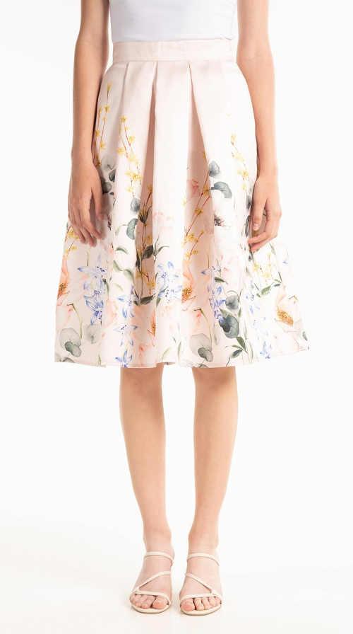 Áčková sukně s květinovým vzorem v módní midi délce