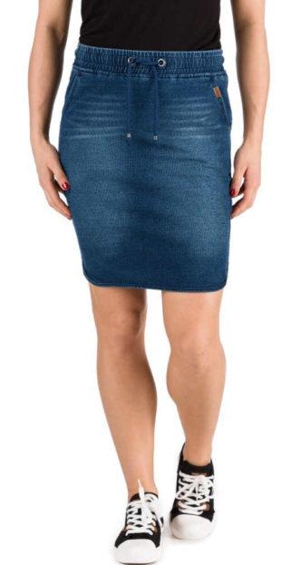 Dámská denimová mini sukně v jednoduchém střihu