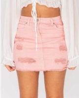 Dámská džínová mini sukně v moderním designu v růžové barvě