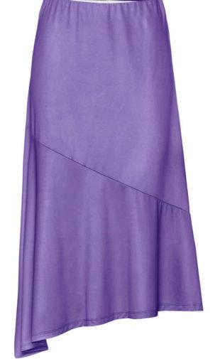 Dámská sukně v asymetrickém střihu v módní barvě