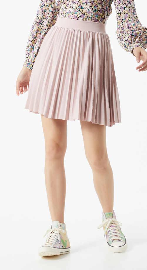 Krátká plisovaná sukně do pružného pasu růžová