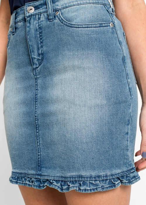 Krátká riflová sukně s nařaseným spodním lemem