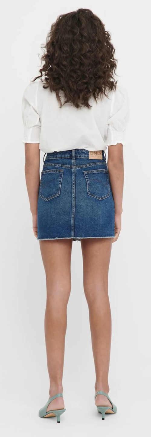 Krátká tmavě modrá riflová sukně sleva