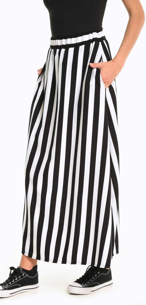 Maxi dámská sukně v klasické černo-bílé kombinaci