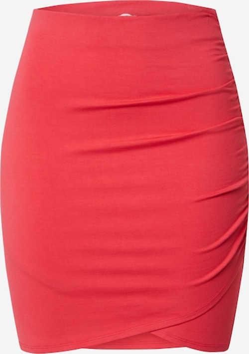 Mini sukně v zavinovacím střihu a řasením ve výrazné barvě