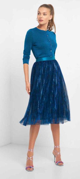 Plisovaná dámská sukně v midi délce do pružného pasu