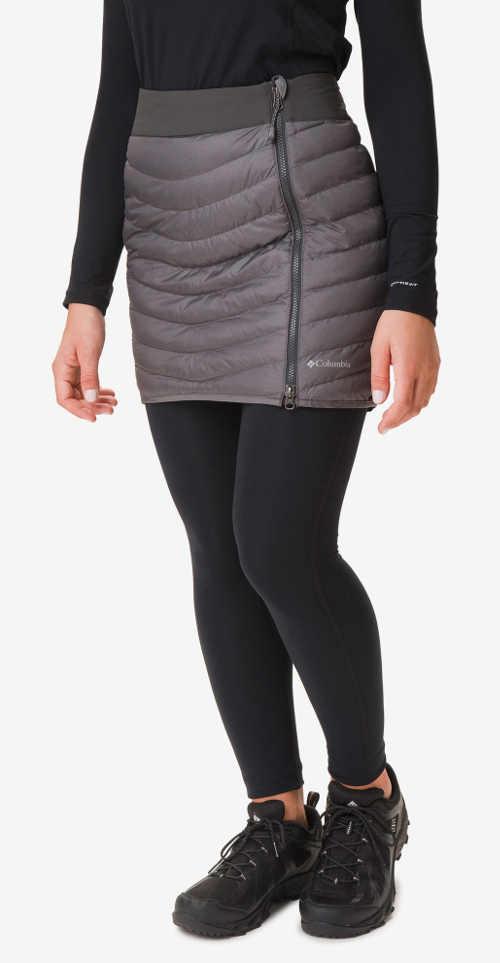 Zimní dámská prošívaná sukně v šedé barvě z voděodolného materiálu