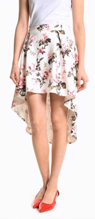 Asymetrická letní sukně s delším zadním dílem