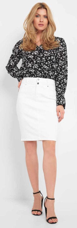 Bílá džínová dámská sukně s délkou nad kolena