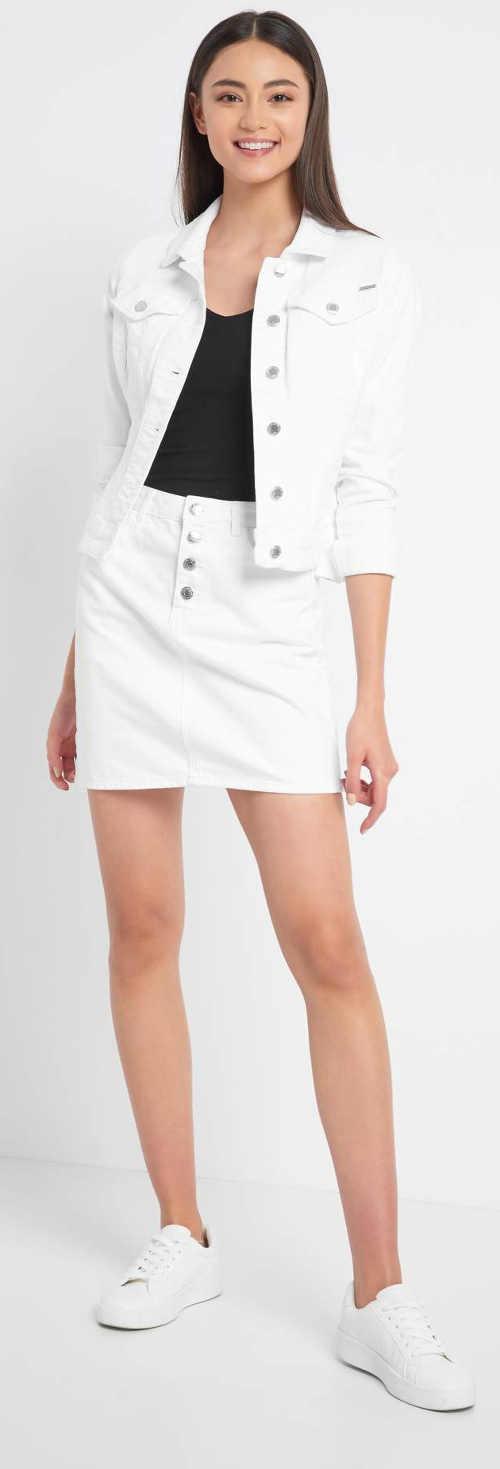 Bílá džínová sukně a bundička