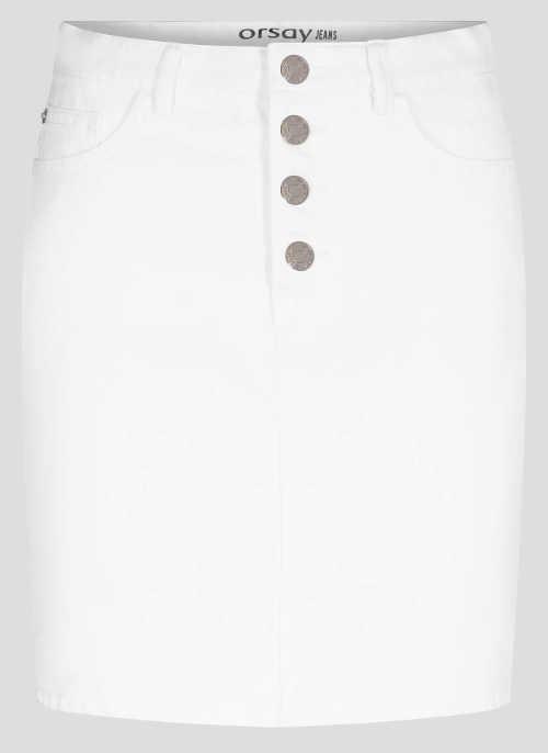 Bílá džínová sukně s předním zapínáním na čtyři kovové knoflíky