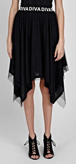 Černá moderní cípová sukně