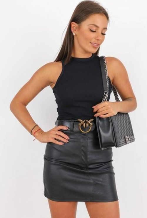 dámská koženková sukně s páskem v mini délce