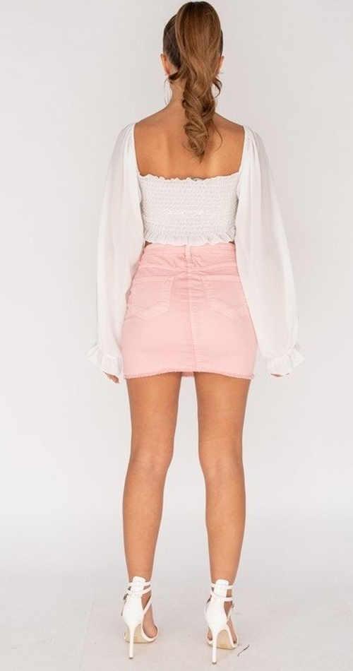 dámská mini džínová sukně růžová