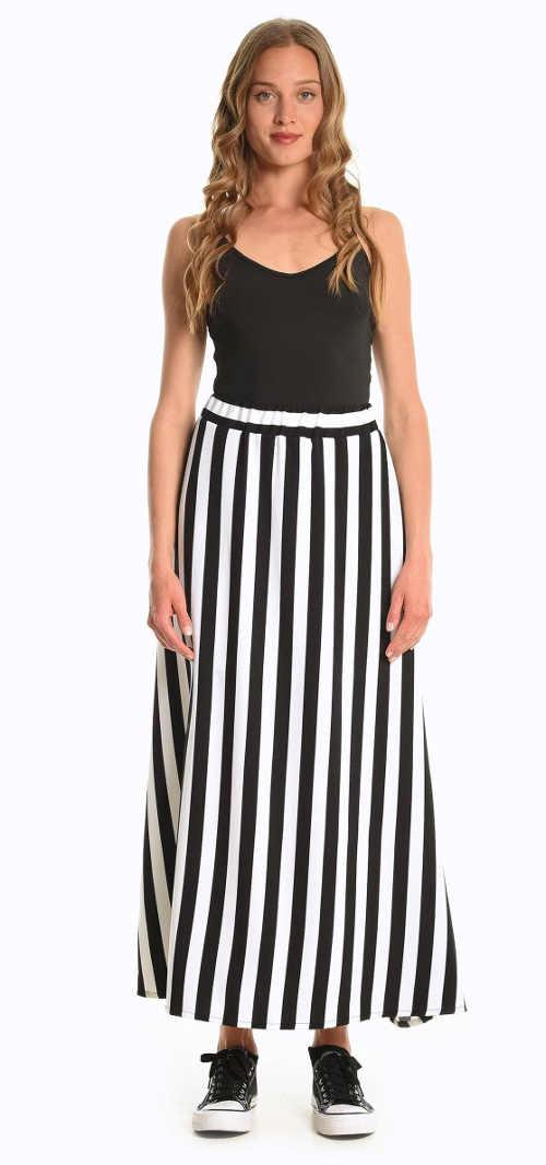 dlouhá dámská letní pruhovaná sukně