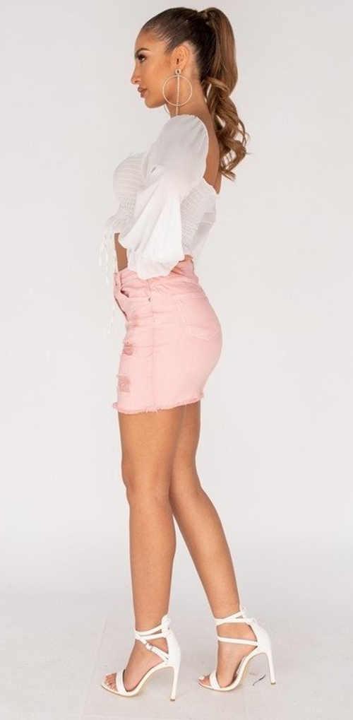 džínová mini sukně v moderním provedení