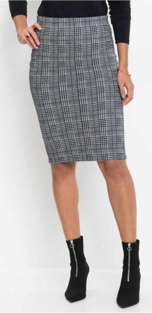 Elastická šedá kostkovaná tužková sukně ze žakáru