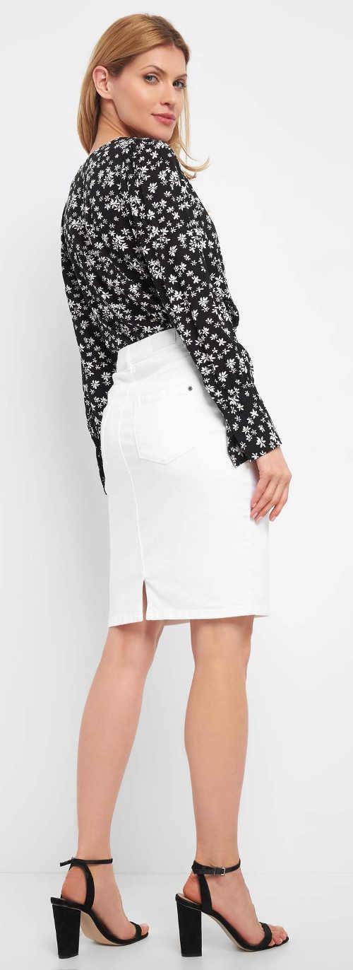 Jednobarevná bílá riflová dámská sukně