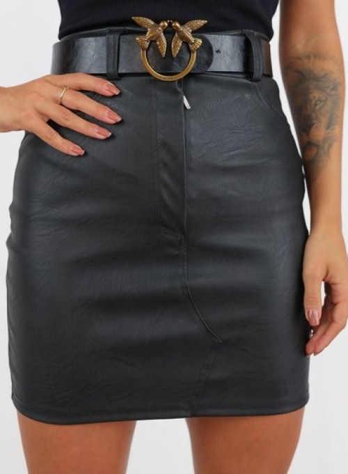 koženková černá mini sukně