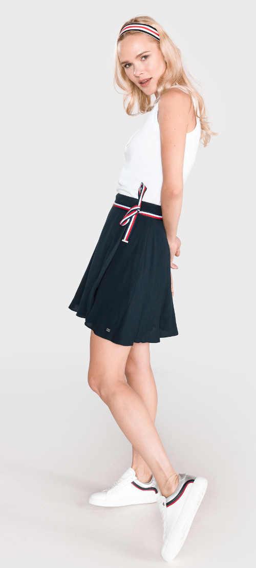 modrá mini sukně zavinovací s páskemem