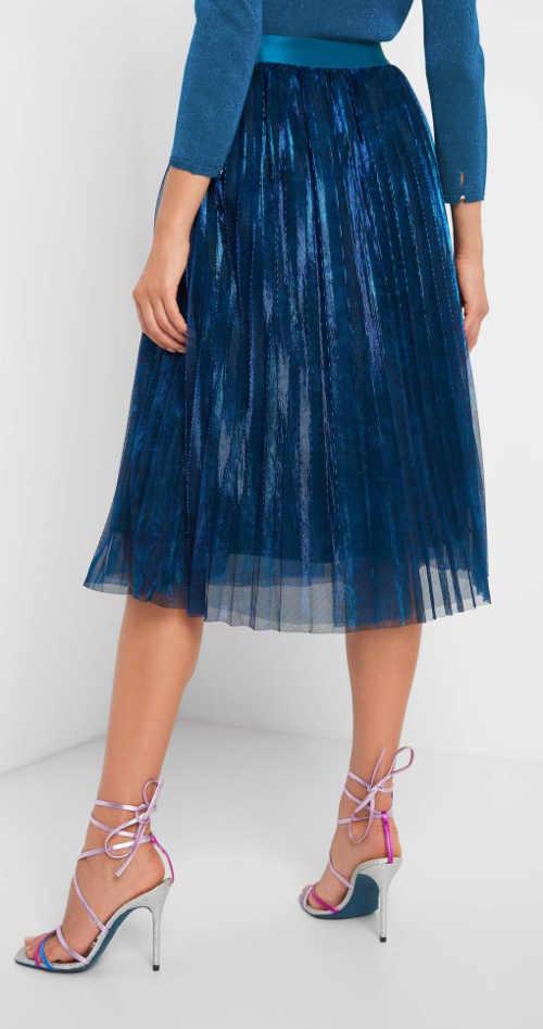 modrá plisovaná sukně do gumy