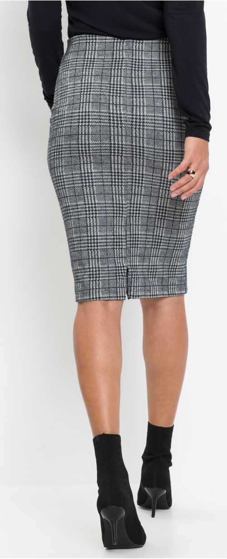 Šedá károvaná uplá dámská sukně s délkou ke kolenům