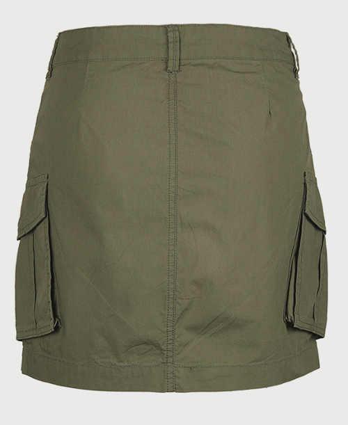 Krátká dámská khaki sukně s velkými bočními kapsami
