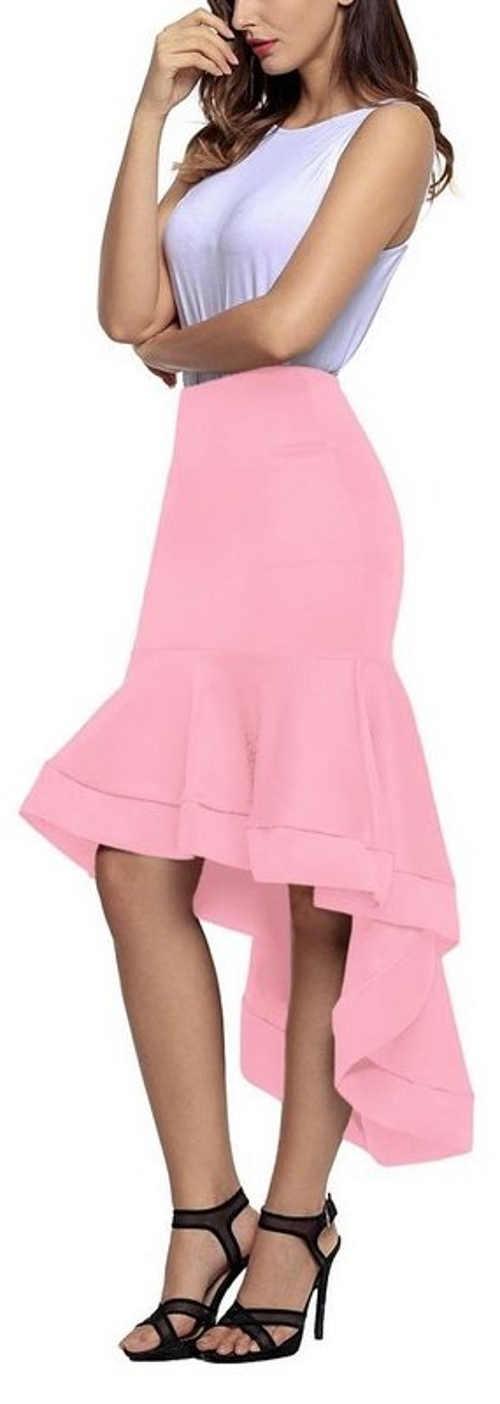 Růžová dámská sukně s dlouhým zadním volánem