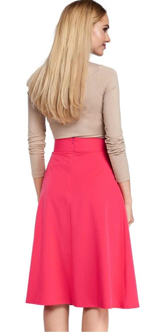 Růžová jarní midi sukně