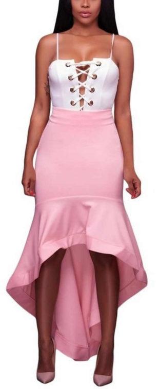 Dámská asymetrická růžová společenská sukně