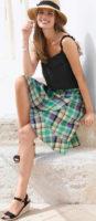Kostkovaná volánová sukně s délkou po kolena