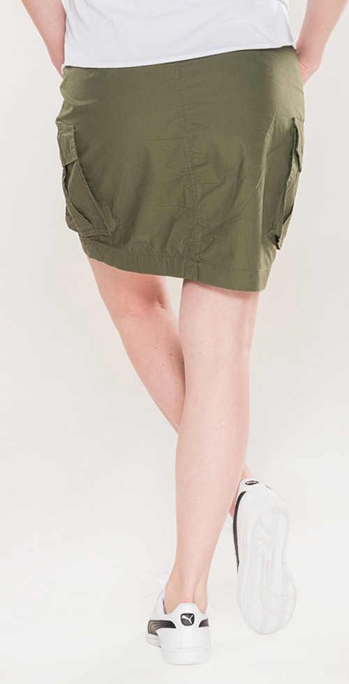Moderní dámská khaki sukně balonového střihu