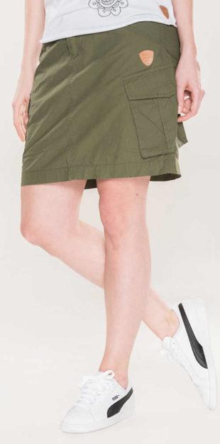 Pohodlná sportovní khaki dámská sukně s velkými kapsami