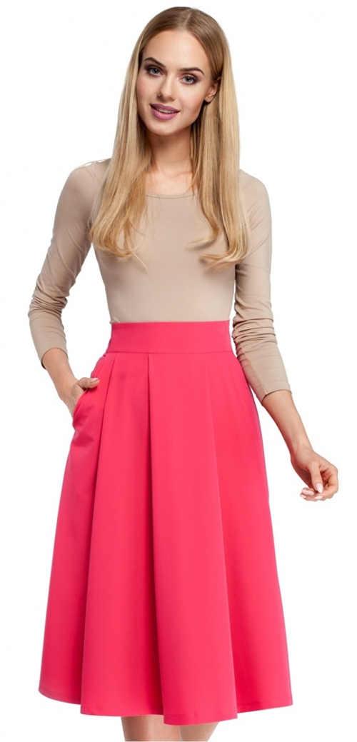 Růžová skládaná společenská sukně s délkou pod kolena