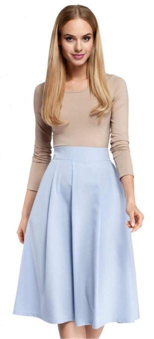 Společenská midi sukně světle modré barvy