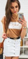 Bílá dámská džínová minisukně s černým páskem