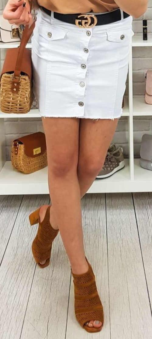 Bílá džínová minisukně s knoflíky na předním díle