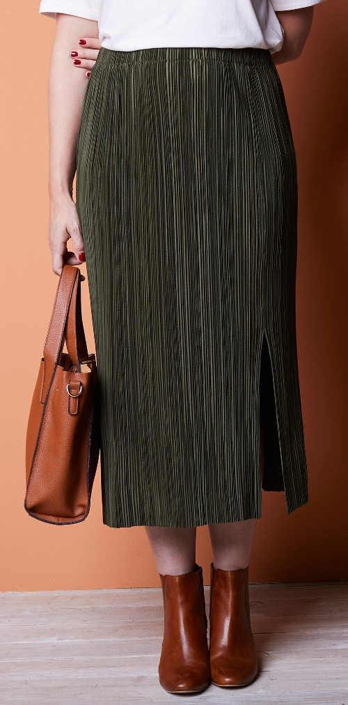 Dlouhá plisovaná khaki sukně