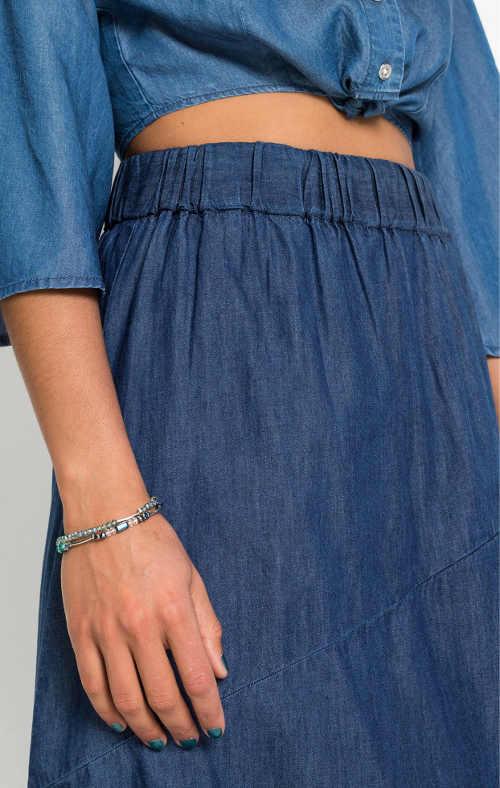 Džínová dámská sukně s pohodlnou vysokou gumou v pase