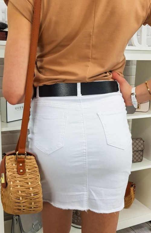 Jednobarevná bílá riflová dámská krátká sukně